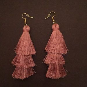 Pink Bohemian Fringe Tassel Earrings Firm Price